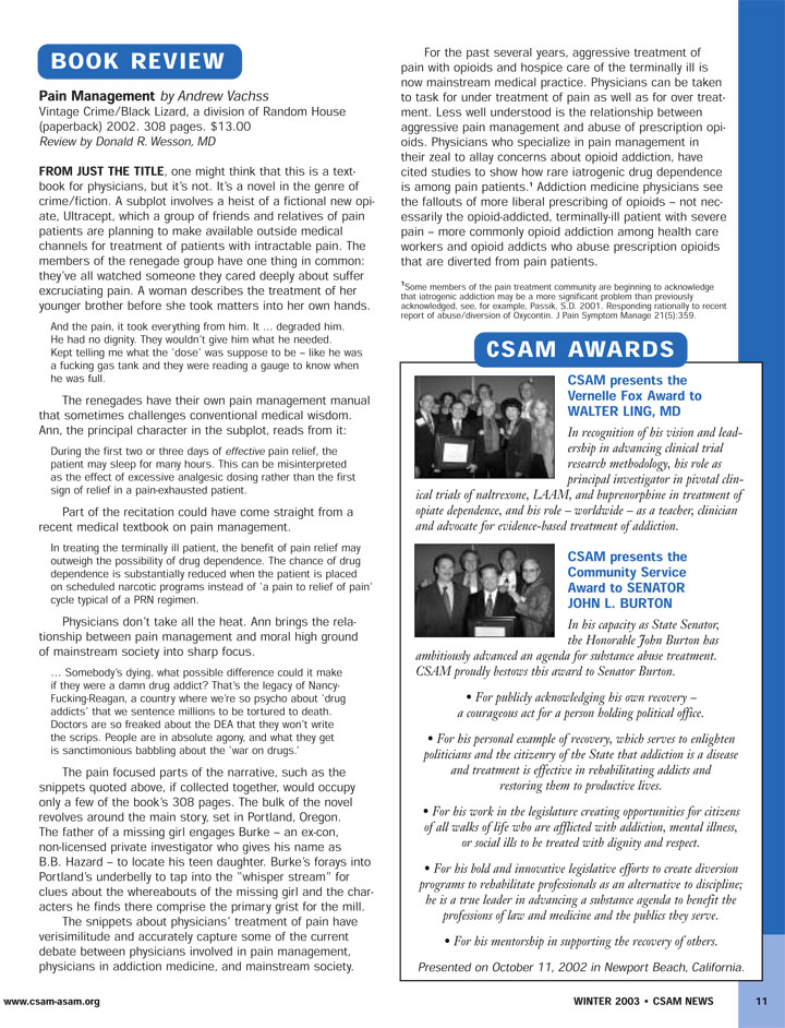 Review of Pain Management, from CSAM News, Vol. 28/No. 3, Winter 2003